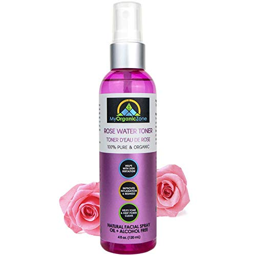 Rose Water Toner for Skin, Face & Hair, Pure Moroccan Rosewater Distilled from Rosa Damascena, Natural Organic Mist for Hydrating Benefits, Dry Skin, Anti-Inflammation and Acne Treatment(4 fl.oz./120)