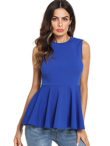 Romwe Women's Sleeveless Elegant Peplum Hem Blouse Shirts Top Blue L by Romwe