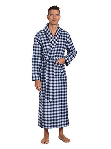 Men's Premium Flannel Long Robe - Gingham Checks - Navy Blue - Large/X-Large