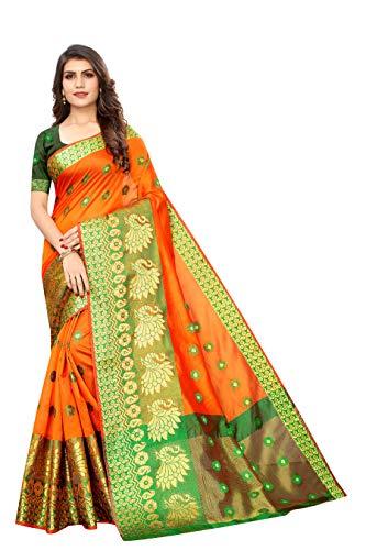 FABMORA Women's Banarasi Cotton Blend Saree With Blouse Piece