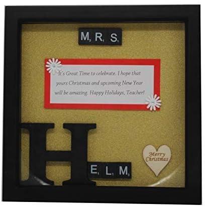 Trimming Shop Marco de madera personalizado con letras de Scrabble, papel de purpurina, personaliza nombre, mensaje, alfabeto grande para decoración de pared, regalo: Amazon.es: Hogar