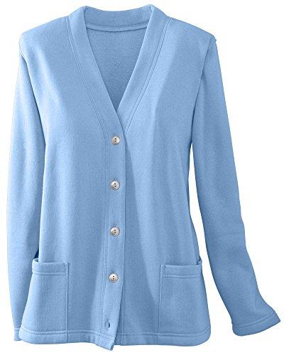 National Lightweight Fleece Cardigan, Blue, Large