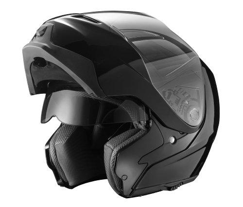 GLX Modular Helmet with Sun Shield (Black, Medium)
