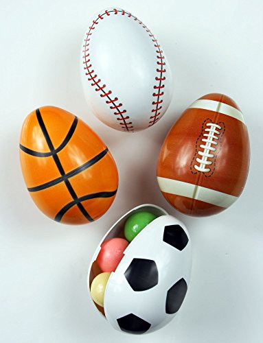 Easter Decorations Fillable Eggs Set of 4 Large Sports Eggs- Baseball Soccer Ball Basketball Football