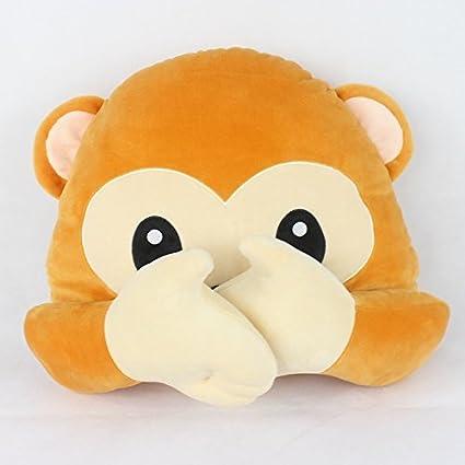 "13 ""Cute Monkey Emoji almohada redonda cojines de peluche de animal de peluche juguetes"