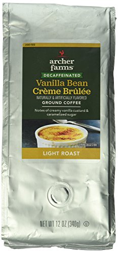 12oz Archer Farms Flavored Ground Coffee DECAFFEINATED Vanilla Bean Crème Brulee, Light Roast (One Bag) ()