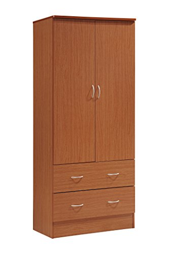 2 Drawer Cherry Armoire - Hodedah Two Door Wardrobe, with Two Drawers, and Hanging Rod, Cherry