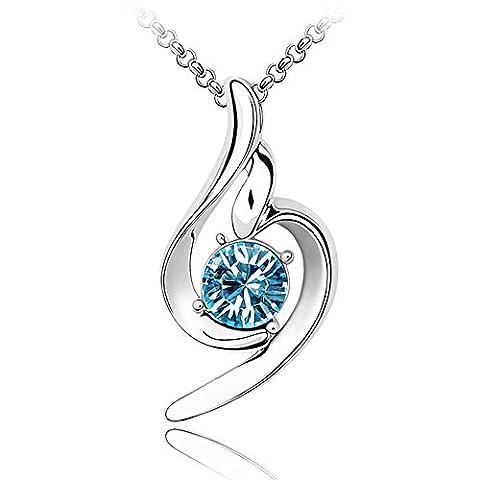 LOLOMODA Angel Wing diamond pendant necklace for women Sterling Silver crystal sapphire Charm - Large Opal Globe Pendant