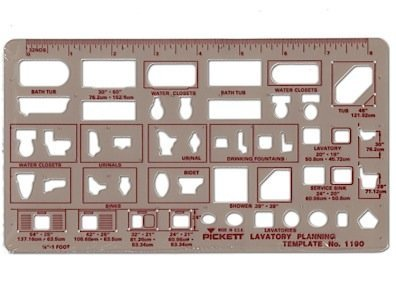 (Pickett Plumbing Drafting Templates lavatory planning 1/4 in. = 1 ft. by)
