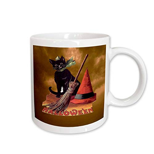 3dRose 6190_2 Vintage Halloween Black Cat Mug 15 oz -