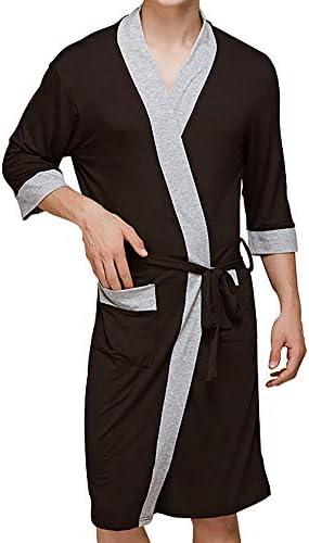 バスローブ 薄手 七分袖 ショート丈 ポケット付