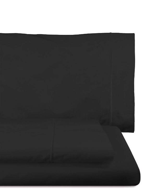 Home Royal - Juego de sábanas Compuesto por encimera, 180 x 285 cm, Bajera Ajustable, 108 x 200 cm, Funda para Almohada, 45 x 130 cm, Color Negro