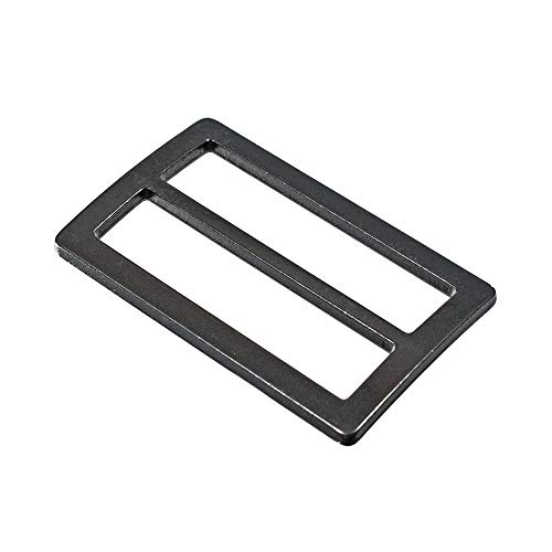 5 Pack - 1 1/2-Inch Black Flat Metal Adjuster Sliders - Buckle Tri-Glides for Strap Keepers, Leather-Craft, Bags, Belts