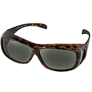 Polarized Fit Over Sunglasses Wear Over Cover Over Prescription Glasses, Size Large Slim, Tortoise (Carrying Case Included)