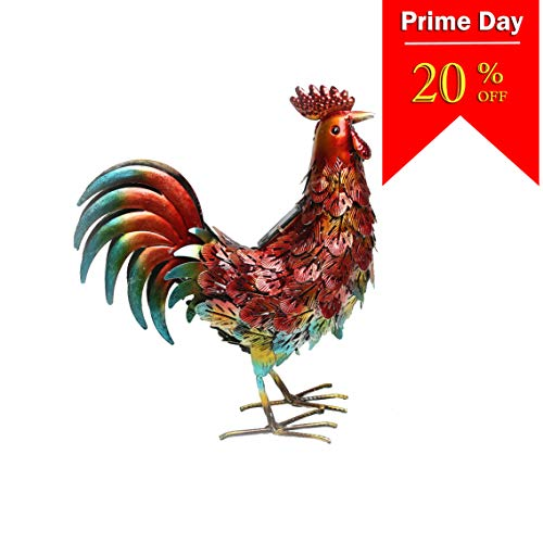 Kircust Solar Metal Rooster Animal Lights Garden Sculptures Art Decor, Outdoor LED Light Patio Lawn Back Yard Color Chicken  Statue Decoration,13.98