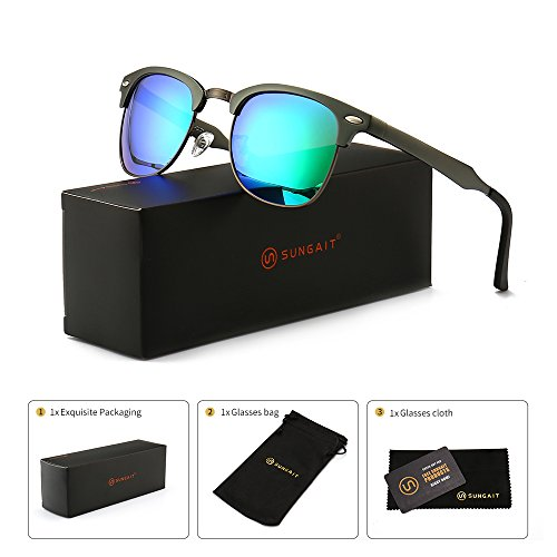 SUNGAIT Classic Half Frame Clubmaster Sunglasses with Polarized Lens (Gunmetal Frame Green Lens) Classic Metal Frame Sunglasses