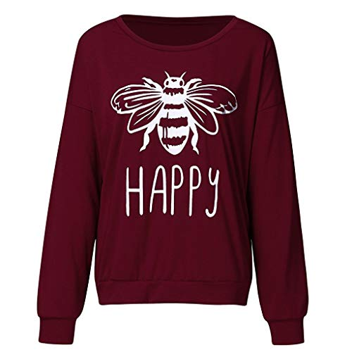 Rmeioel Autumn Summer Women's Fashion Causal Sexy One Shoulder Letter Bee Print Blouses Long Sleeve Top T Shirts Wine (Spiderman For Nintendo 64)