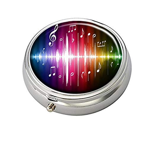 Cecillia Colorful Music Notes Wallpaper Decorative Boxes Silver Round Pill Box Medicine Tablet Holder Wallet Organizer Case for Pocket or Purse