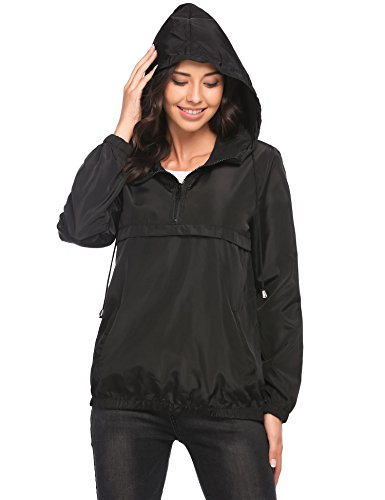 Vansop Women's Lightweight Waterproof Hooded Rain Jacket Half Zip Front Pocket Windbreaker Pullover(Black,S)