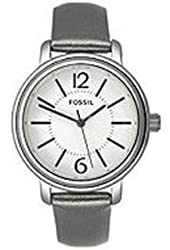 Fossil Women's ES2706 Grey Leather Strap White Analog Dial Watch