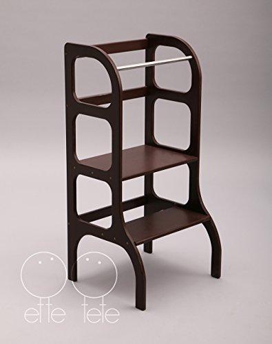 Little helper tower, toddler kitchen step stool, Montessori learning stool, dark BROWN