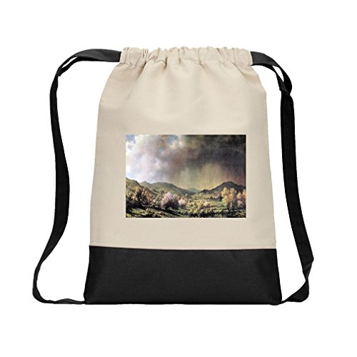 Spring Rain Connecticut (Heade) Canvas Backpack Color Drawstring Bag - Black ()