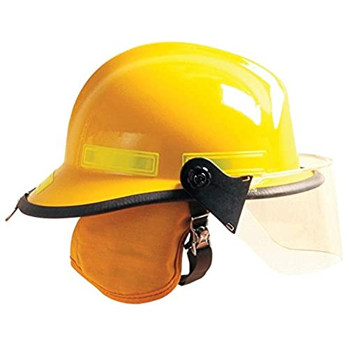 MSA 660DSY Cairns 660C Metro Composite Fire Helmet with Defender, Yellow, Standard Flannel Liner, Nomex Earlap, Lime/Yellow Reflexite, Bar