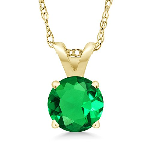 0.77 Ct Round Green Simulated Emerald 14K Yellow Gold Pendant With Chain by Gem Stone King