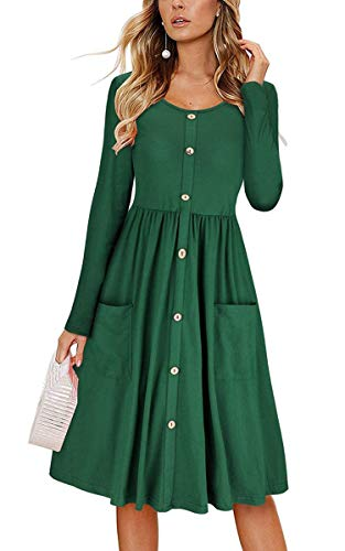 ECHOINE Vintage Forest Green Long Sleeve Buttons Down Office Skater Midi Dress
