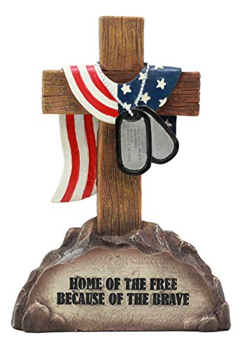 Ebros Patriotic Fallen Soldiers Memorial Cross with American Flag and Dog Tags Decor Statue for Desktop Shelves Office Study Table Home Decor ()