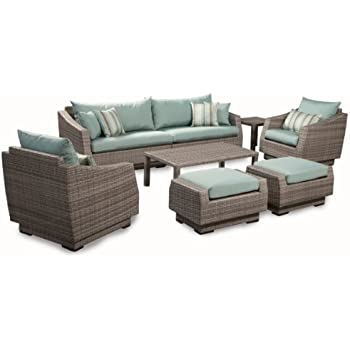 rst brands 8piece cannes sofa and club chair deep seating group patio furniture set bliss blue - Rst Brands