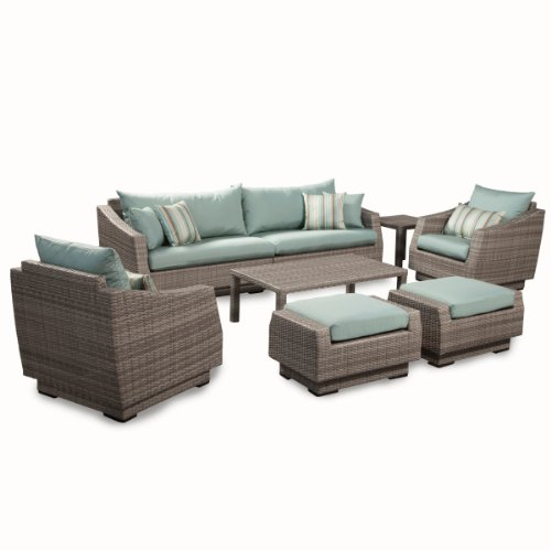 RST Brands 8-Piece Cannes Sofa and Club Chair Deep Seating Group Patio Furniture Set, Bliss Blue by RST Outdoor