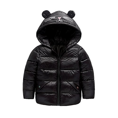 Blue Baby Boys 4T 3 Girls Winter Hoodie black Jacket Coat Size Down Fairy Kids Light Baby Royal Ear Warm Outwear B1Wnng