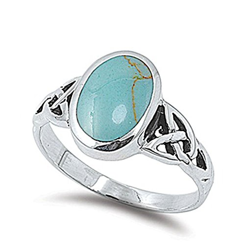 - Long Simulated Turquoise Celtic Knot Ring New .925 Sterling Silver Band Size 5