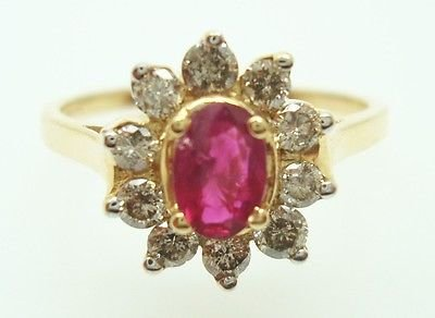 0.63 Ct Diamond (14K GOLD OVAL .63CT GENUINE NATURAL RUBY RING WITH .50CT DIAMONDS)