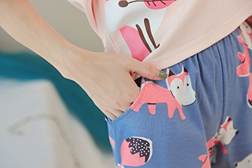 KINYBABY Big Girls Summer Pajama Set Cute Fox Printed Cotton Sleepwear Top&Shorts Pink Fox L by KINYBABY (Image #8)