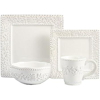 American Atelier Bianca Leaf 16-Piece Square Dinnerware Set  sc 1 st  Amazon.com & Amazon.com | Better Homes and Gardens Square 16 Piece Porcelain ...