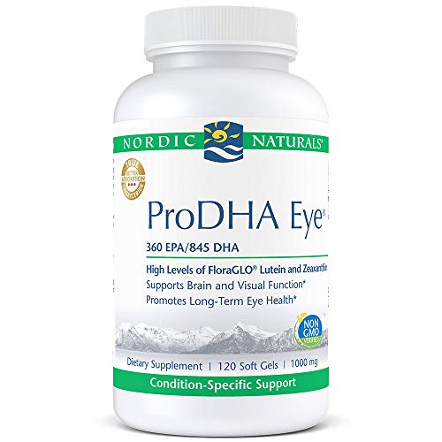 (Nordic Naturals ProDHA Eye - Fish Oil, 360 mg EPA, 845 mg DHA, 20 mg FloraGLO Lutein, 4 mg Zeaxanthin, Support for Neurological Function and Long-Term Eye Health*, 120 Soft Gels)