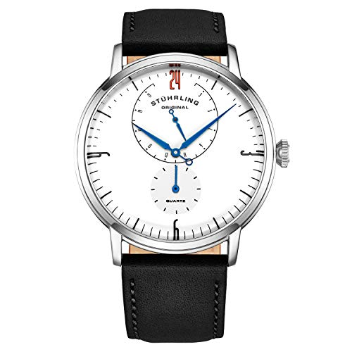 Stührling Original Mens Stainless Steel Formal Analog Dress Watch, Domed Crystal, Luxury Horween Leather Band, 24 Hour Subdial, 778 Cabaletta Watches Collection (Ivory)