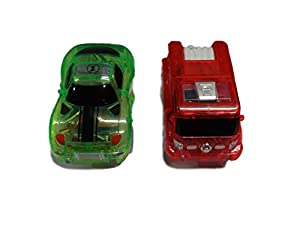 Replacement Toy Racing Car and Fire Truck (2-Pack) with 5 LED Lights Compatible with Most Tracks Including Magic Tracks for Boys and Girls
