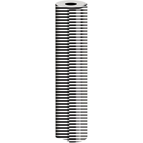 JAM PAPER Industrial Size Bulk Wrapping Paper Rolls - Black White Stripe Design - 1/4 Ream (416 Sq Ft) - Sold Individually