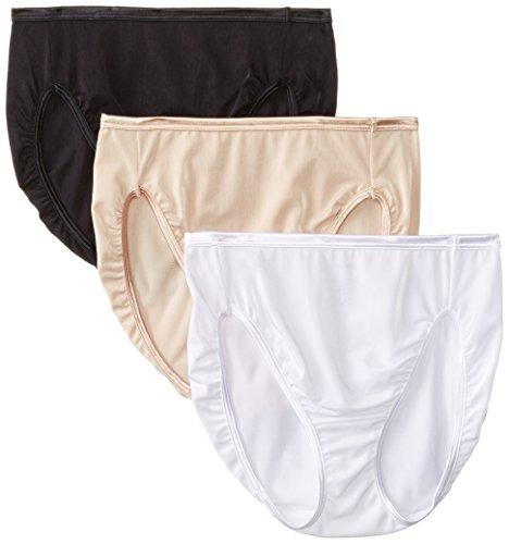 Vanity Fair Women's 3 Pack Illumination Hi Cut Panty 13308, White/Rose Beige/Black, M/6