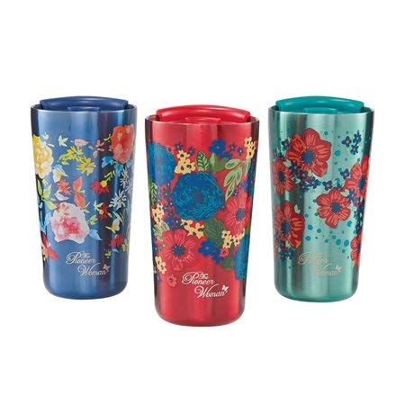 The Pioneer Woman 18oz Stainless Steel Floral Tumblers - Set of 3 (Red, Navy and Teal) by The Pioneer Woman