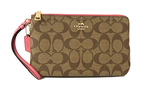 Coach Signature Zip - Coach Signature PVC Double Zip Wallet Wristlet (IM/Khaki/Pink Ruby)