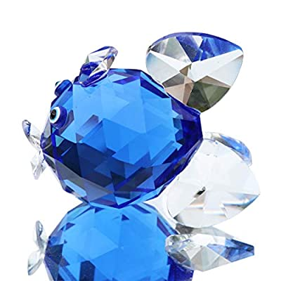 Waltz&F Crystal Blue Goldfish Figurines,Glass Animal Paperweight,Collectible Figurines for Gift