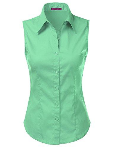 LA BASIC Womens Sleeveless Button Down Shirts (S-3XL)