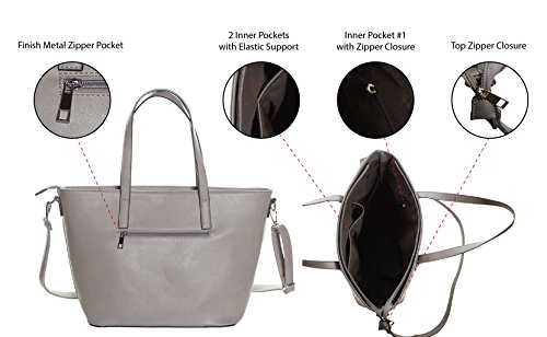Faux Leather Tote Bag For Women - Convertible Crossbody Tote And Handbag - Top Handle Satchel Purse With Top Zipper Closure (PEWTER) by Pier 17 (Image #3)