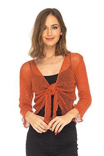 (SHU-SHI Womens Knitted Tie Top Sheer Shrug, Orange, One Size)