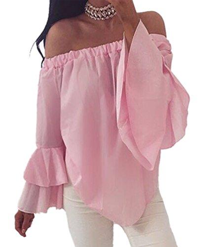 NiSeng Mujeres Camiseta Manga Larga Hombro Ocasionales Camisa de la Blusa Tops Descubiertos Elegante Blusa Tops Rosado