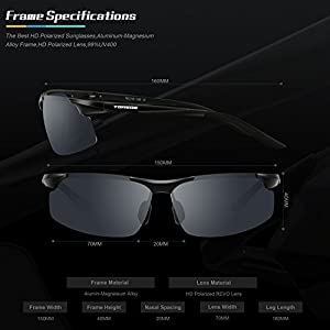 TOREGE Men's Sports Style Polarized Sunglasses For Cycling Running Fishing Driving Golf Unbreakable Al-Mg Metal Frame Glasses M291 (Black&Black Tips&Gray lens)